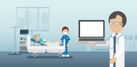 Medical service concept with blank screen notebook and critical patients flat design vector illustration Vectores
