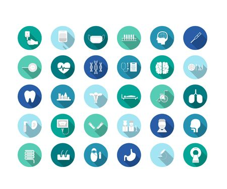 Set of medical icons with long shadow flat design vector illustration
