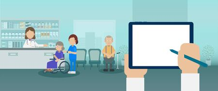 Elder care concept with medical staffs take care of elder patient and blank screen tablet flat design vector illustration