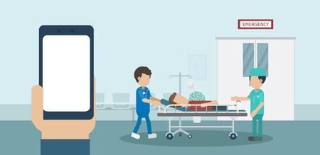 Medical service concept with blank screen mobile phone and doctor with injured patient in bed flat design vector illustration