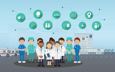 Medical service concept with medical staffs and icons flat design vector illustration