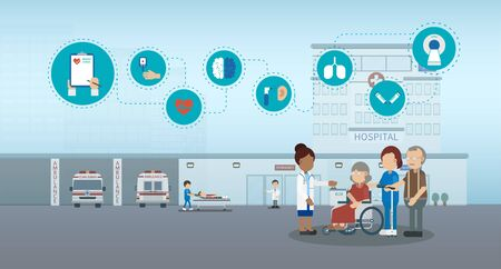 Elder care concept with medical staffs take care of elder patient vector illustration