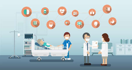 Medical service concept with medical icons and patient with ventilator flat design vector illustration
