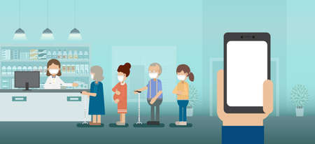 Blank screen mobile in pharmacy with pharmacist and customers in a row vector illustration