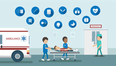Emergency service concept with doctor and injured patient in bed flat design vector illustration