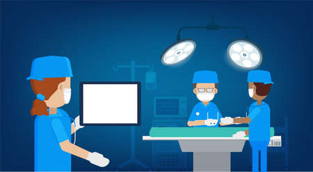 Surgeon in surgery room with blank tablet flat design vector illustration