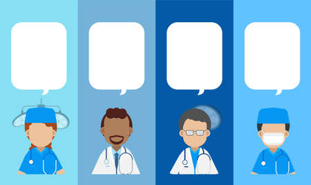 Surgeon and doctors with speech bubble flat design vector illustration