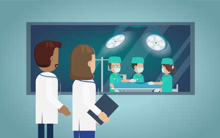 Surgeon team in surgery room flat design vector illustration Ilustración de vector
