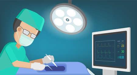 Surgeon with monitor in surgery room flat design vector illustration Ilustración de vector
