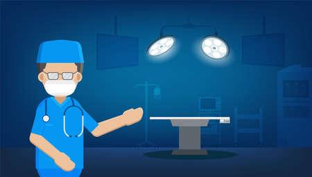 Surgeon in surgery room flat design vector illustration Vectores
