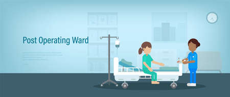 Post operating ward banner with nurse and recovery patient in room flat design vector illustration