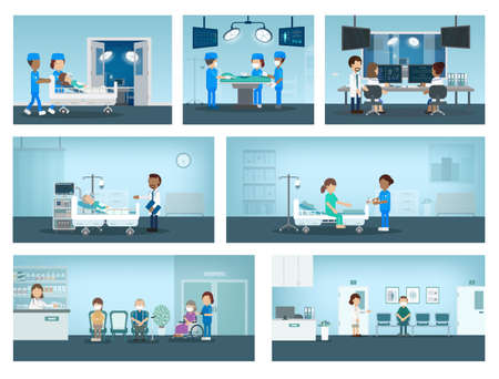 Set of surgery processes with surgeons and patient in room flat design vector illustration