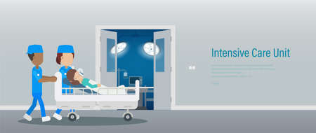 Intensive care unit banner with surgeon team and patient in bed flat design vector illustration