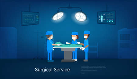 Surgical service banner with surgeon team in surgery room flat design vector illustration Stock Illustratie