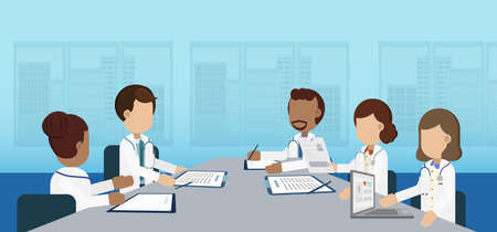 Doctor conference concept with group of doctors discuss flat design vector illustration
