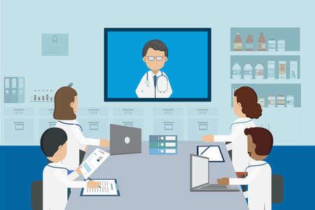 Doctor conference concept with group of doctors discuss flat design vector illustration Векторная Иллюстрация