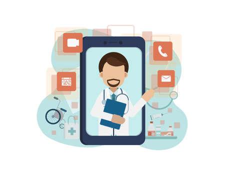 Online doctor service with doctor on mobile phone flat design vector illustration Illustration