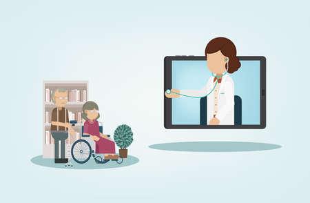 Online doctor service with doctor on digital tablet flat design vector illustration Illustration