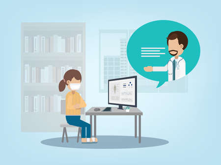 Online doctor service with doctor on computer monitor flat design vector illustration 矢量图像