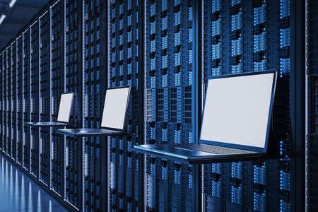 3d rendering empty screen computer notebook in server room