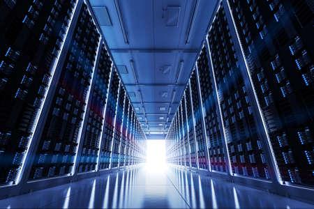 3d rendering server room or data center