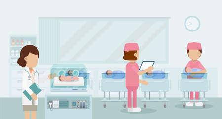 Maternity ward with pediatrician and newborn babies flat design vector illustration