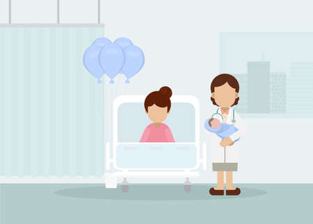 Maternity ward with doctor flat design vector illustration