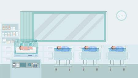 Maternity ward with newborn baby flat design vector illustration Vektorové ilustrace