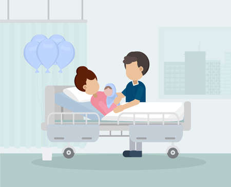 Maternity ward with family flat design vector illustration