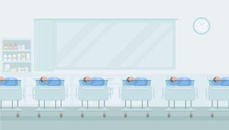 Maternity ward with newborn babies flat design vector illustration 向量圖像