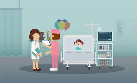 Pediatrics ward with doctor and patient flat design vector illustration