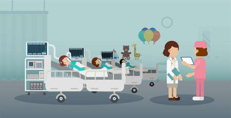 Pediatrics ward with doctor and patients flat design vector illustration Illustration