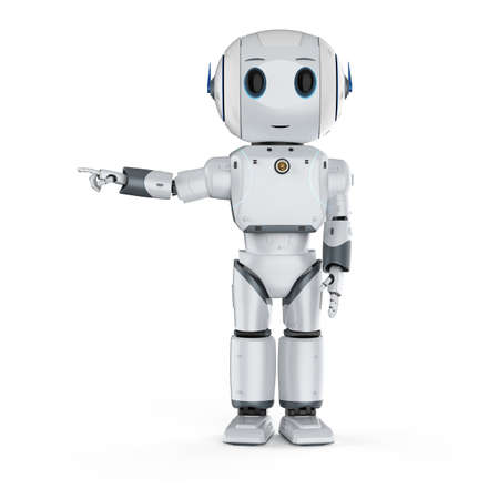 3d rendering cute artificial intelligence robot finger point with cartoon character