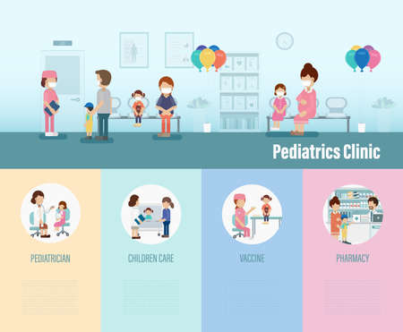 Pediatrics clinic infographic with children and parents flat design vector illustration