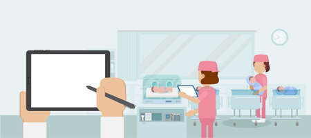 Maternity ward with blank screen tablet and nurses flat design vector illustration
