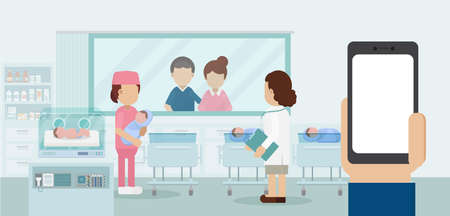 Maternity ward with blank screen mobile phone, pediatrician and newborn babies flat design vector illustration 矢量图像