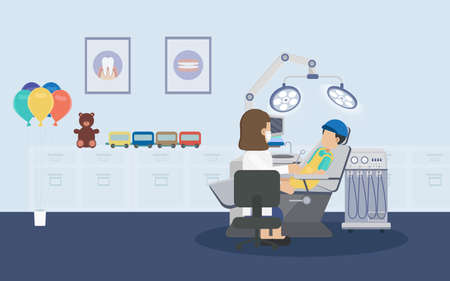 Dental clinic or dental office with patients flat design vector illustration