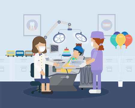 Dental clinic or dental office with patient flat design vector illustration