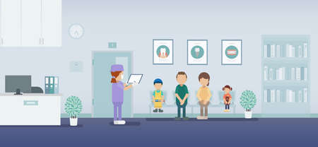 Dental clinic or dental office with patients waiting flat design vector illustration  Stock Illustratie