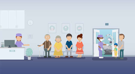 Dental clinic or dental office with patients waiting flat design vector illustration Vecteurs