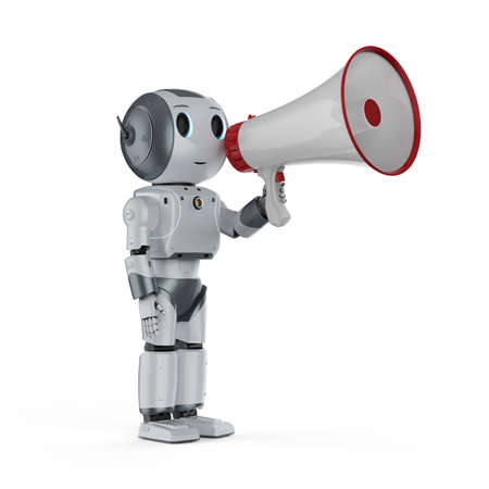 Online marketing concept with 3d rendering robot with megaphone