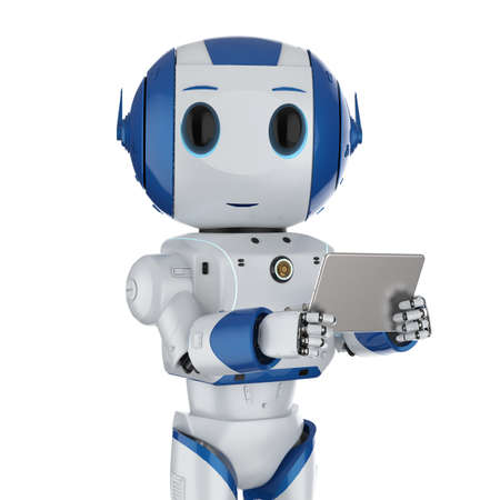 3d rendering cute artificial intelligence robot with digital tablet