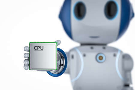 3d rendering mini robot with cpu chip isolated