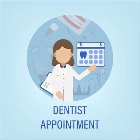 Dentist appointment concept with dentist and calendar  flat design vector illustration