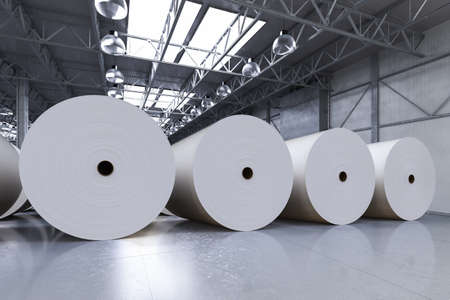 3d rendering white large paper rolls in factory