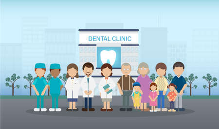 Dental clinic with medical staff and patients flat design vector illustration Stock Illustratie