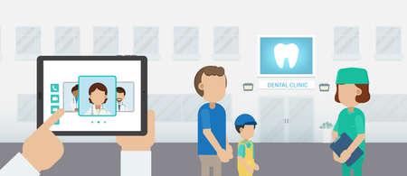 Dental appointment on tablet flat design vector illustration