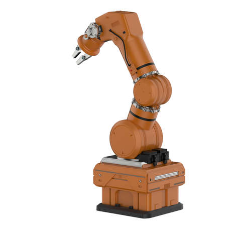 3d rendering robotic arm isolated on white background