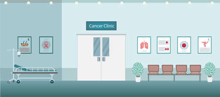 Cancer clinic interior with counter and waiting area flat design vector illustration