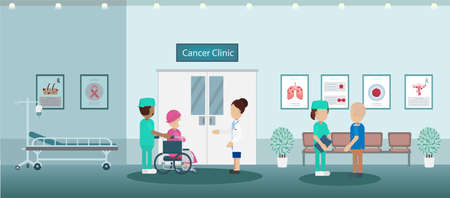Cancer clinic with doctor and patients flat design vector illustration Ilustracja